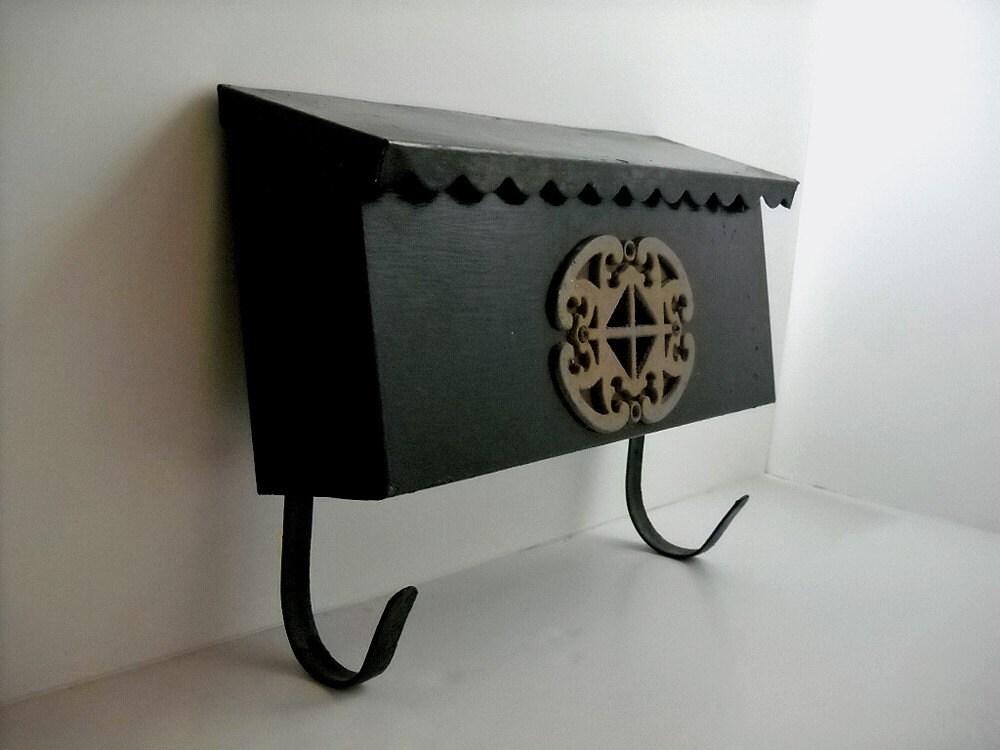 Vintage Black Metal Wall Mount Mailbox Rectangle