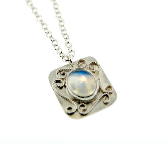 Moonstone and Sterling Silver swirl pendant