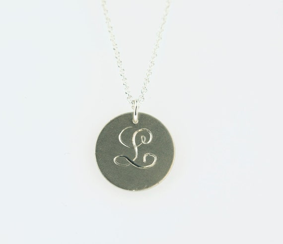 L hand engraved initial sterling silver pendant necklace