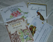 Wine Bottle Hang Tags Vintage French  Labels for Hostess Gifts Journaling Weddings Set of 8