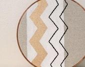 retro embroidered wall decor, chevron stripes