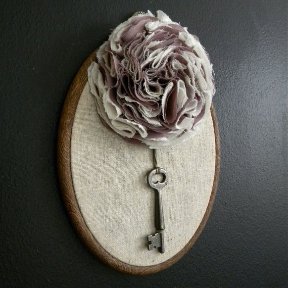 Floral Wall Decor Skeleton Key And Linen By Monkeyandsquirrel