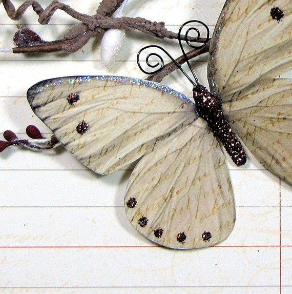 Butterfly Embellishments Vintage Script