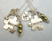 Best Friends Are Like Two Peas in a Pod Jig Saw Puzzle Charm Necklace in Silver