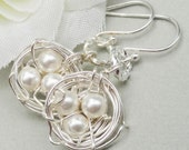 Sterling Silver Birds Nest earrings Rustic Nest Choose Your Pearl Color Lovely Gift