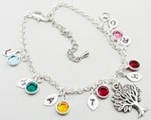 Personalized  Handstamped Leaf Silver Bracelet and Swarovski Birthstone Bezels - My Family Tree