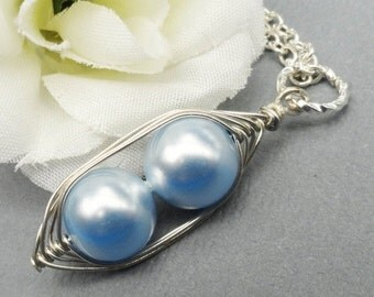 Peas in a pod, Two Peas In A Pod, silver pea pod necklace, mothers necklace, sisters necklace, best friends
