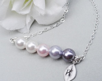 Swarovski Pearl Bar Necklace  Initial Of Your Choice. 2,3,4 or 5 Pearls. Choose Your Colors Sterling Silver