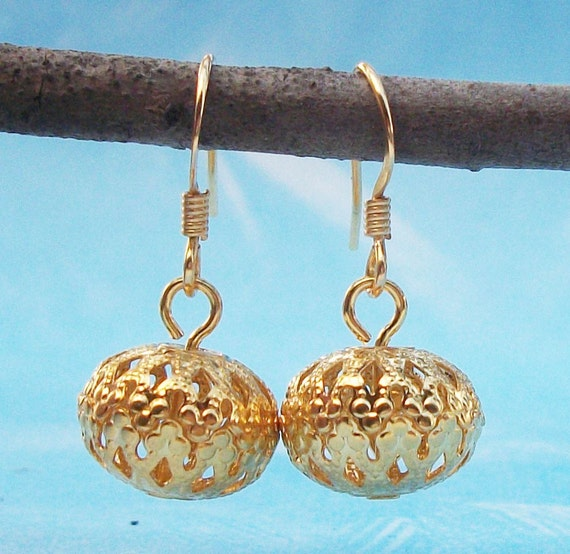 Moroccan  Gold Filigree Earrings