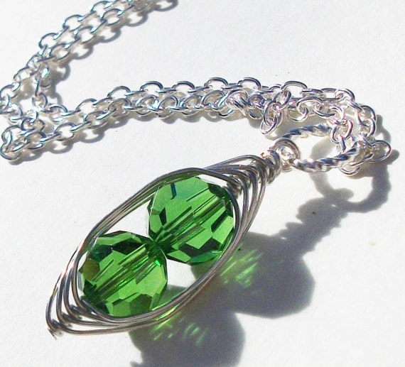 Two Peas In A Pod Necklace  STERLING SILVER Green Swarovski Crystals. Ideal Gift For Mom Grandma Or Sisters