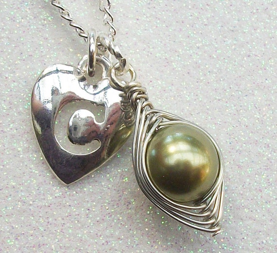 Limited Edition Pea in the Pod Choose your Initial in Silver - M And A Only