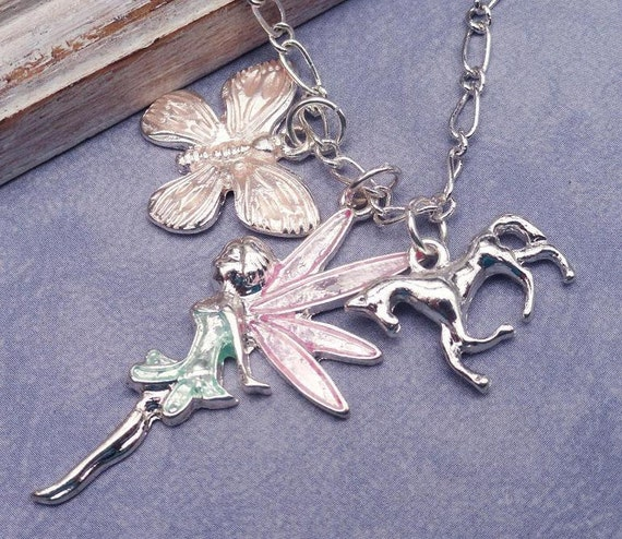 Tinkerbell Fairy Silver Multi Charm Necklace Fairy Unicorn And Butterfly.  Lovely Gift For A Young Girl
