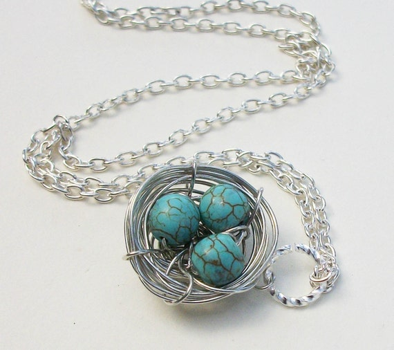 Handcrafted  Silver Nest Pendant Genuine Turquoise