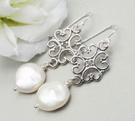 Large Coin Pearl Earrings Natural Freshwater Pearls.  Sterling Silver Brides Everyday Wear Special Occasion Wedding Jewelry