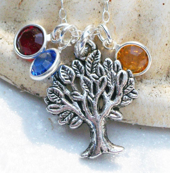 Personalized Family Birthstone Tree Of Life Sterling Silver Custom Necklace - Lovely Gift For Mom Grandma Or Friend.
