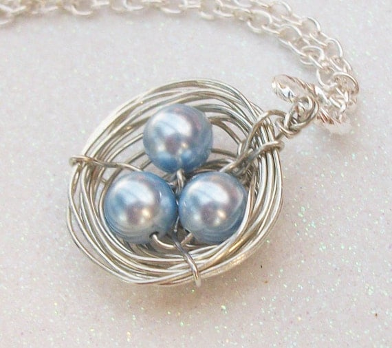 Love My Boys Silver Birds Nest Swarovski Pearls.  Personalized Gift Mix And Match Your Pearls