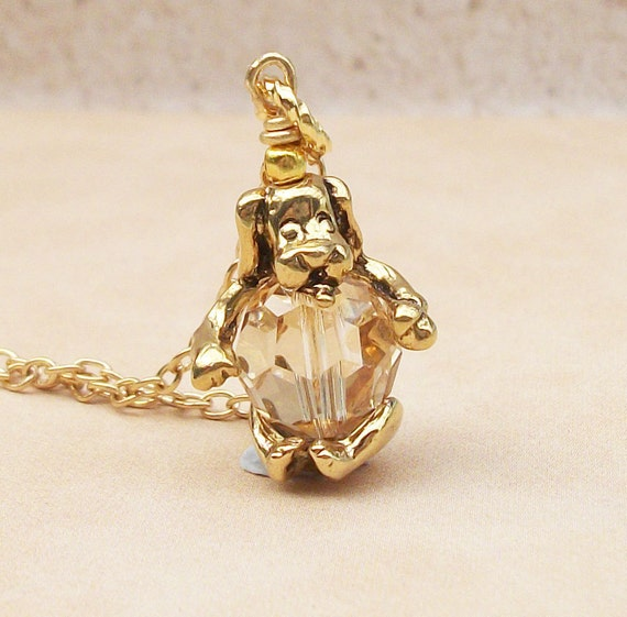 Gold Dog Pendant Necklace Swarovski Crystal Golden Shaddow Bead - Ideal Gift
