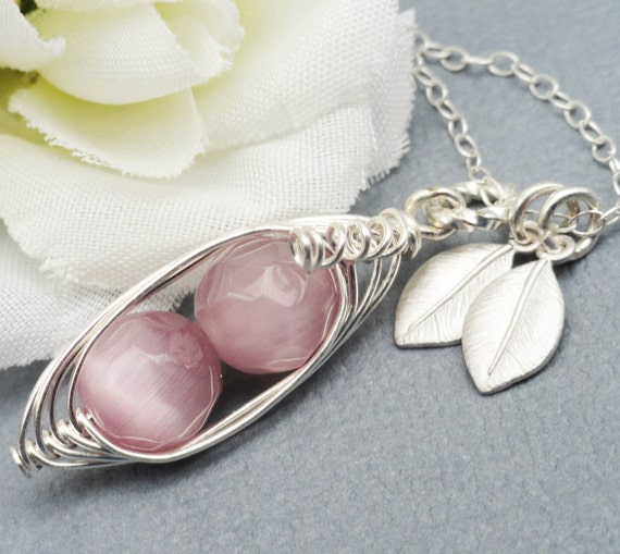 2, 3 or 4 Sweet Peas In A Pod ALL STERLING Silver Czech Faceted Dusky Pink Stones