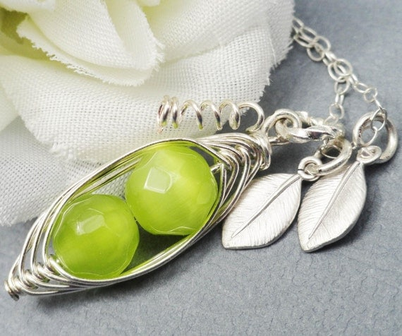 2, 3 or 4 Sweet Peas In A Pod ALL STERLING Silver Czech Faceted Green Stones Or Choose Your Color Pearl.