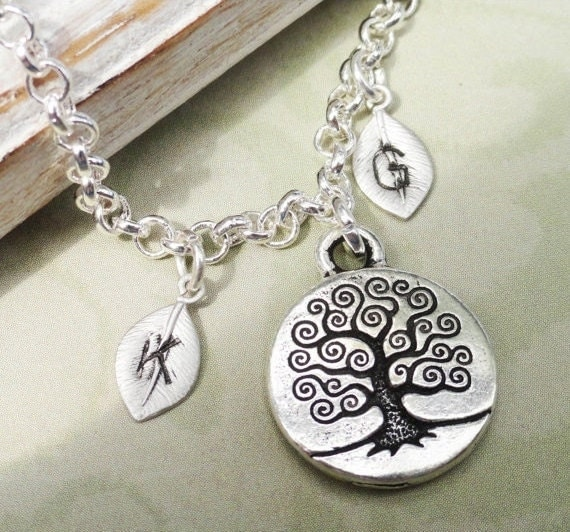 Family Tree -  Silver Tree Of Life Personalized Silver Charm Bracelet.  Great Gift For Mom Or Grandma Personalize