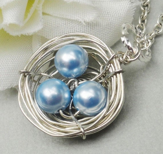 Silver Birds Nest  Necklace Swarovski Pearls.  Mommies Little Children. Mix And Match Your Pearl