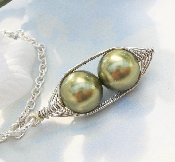 Two Peas In A Pod Silver Pendant Necklace Wire Wrapped Light Green Swarovski Pearls - or Choose Your Color- Great Gift Idea for Mom