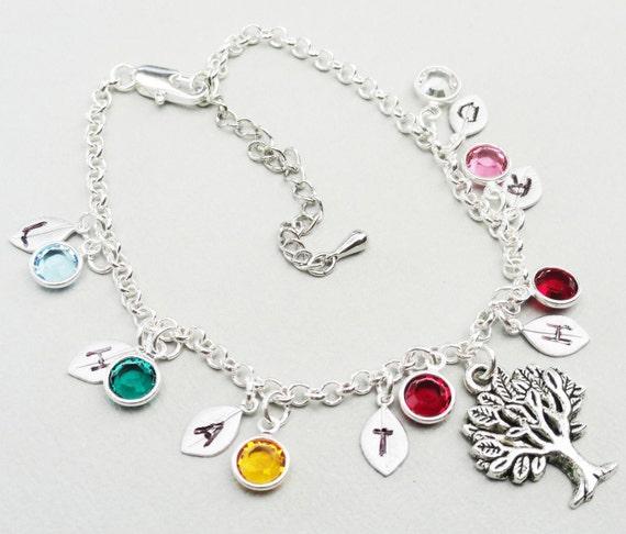 Personalized  Handstamped Leaf Silver Bracelet and Swarovski Birthstone Bezels - My Family Tree