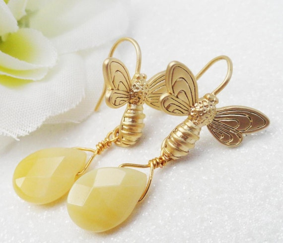 Matte Gold  Honey Bee Earrings Dendretic Opal