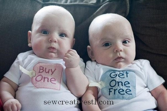 Buy One - Get One Free Twin Onesie Set - RUSH ORDER to be shipped USPS priority mail