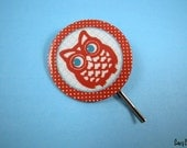 Hello Hoot Owl Bobby Pin - Red and Blue