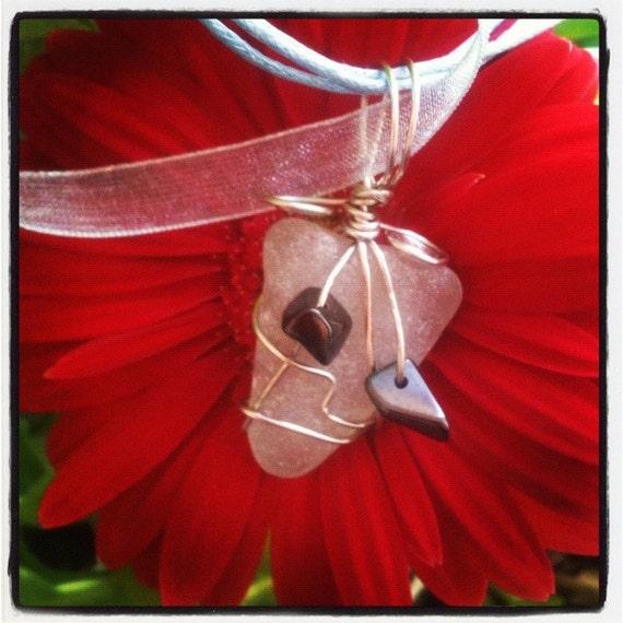 Clear Irish Sea Glass & Hematite -  Wire Wrapped Pendant