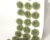 Green Organza Roses - Organza Flowers - Ribbon Flowers - 24 Pieces