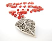 Long Red Necklace,  sponge Coral  Necklace, Filigre Leaf Necklace, Rosary Necklace, handmade