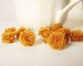 Dark Caramel Organza Roses - Organza Flowers - Ribbon Flowers - 10 pcs