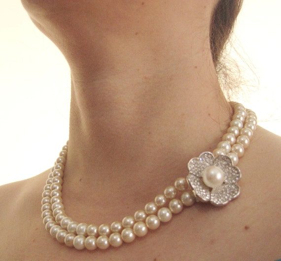 Pearl Necklace Styles: Items Similar To Multi Strand Pearl Necklace Statement