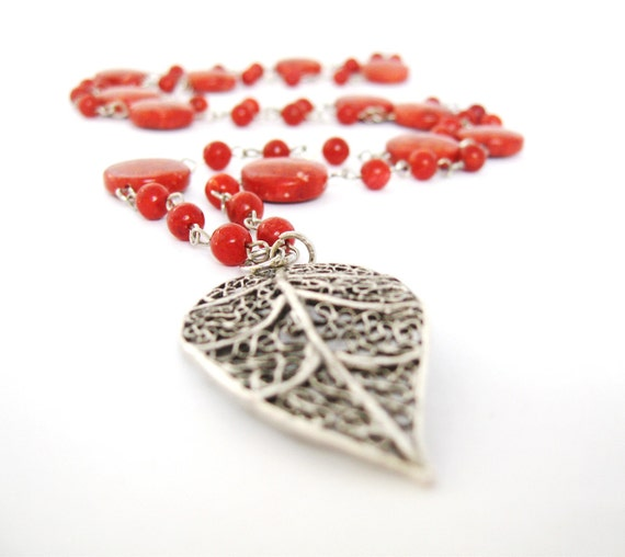 Long Red Necklace,  sponge Coral  Necklace, Filigre Leaf Necklace, Rosary Necklace, handmade