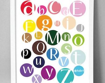 "Printable Wall Art - Multi Color Dot Alphabet  - 8.5""x10"""