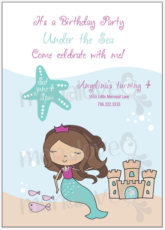 Mermaid Birthday - DIY Invite and Thank You Card