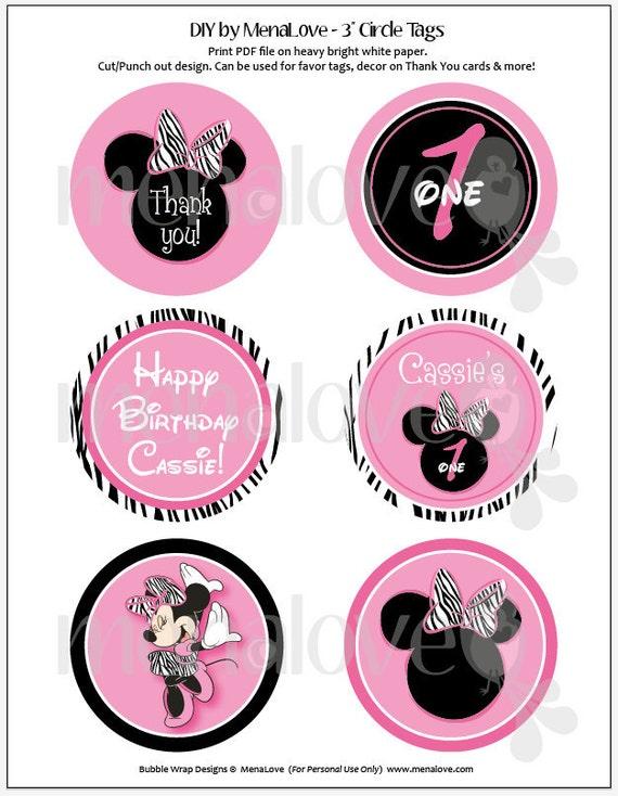 Minnie Mouse Zebra DIY 3 Circle Tags