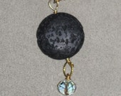 Hillary Black Laval Pendand with Crystal Dangle