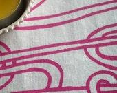 Spaghetti Threads - hand screen printed skinny quarter - Fuchsia Pink on White