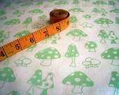 Toadstools v.2 - hand screen printed large quarter - Apple Green on White