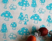 Toadstools v.2 - hand screen printed skinny quarter - Turquoise on White