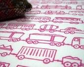 Train Set - hand screen printed skinny quarter -  Fuchsia Pink on White