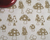 Toadstools v.2 - hand screen printed fabric skinny quarter - Metallic Gold on White Cotton