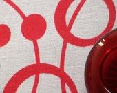 Loop da loop - hand screen printed skinny quarter - Pillar Box Red on White