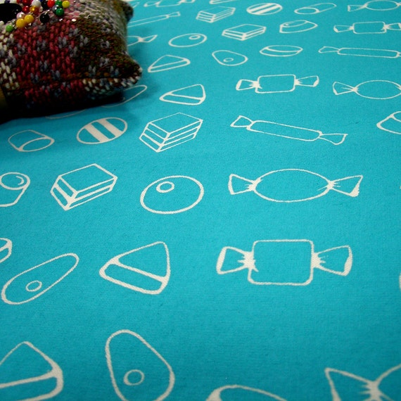 Sweeties - hand screen printed skinny quarter - White on Turquoise