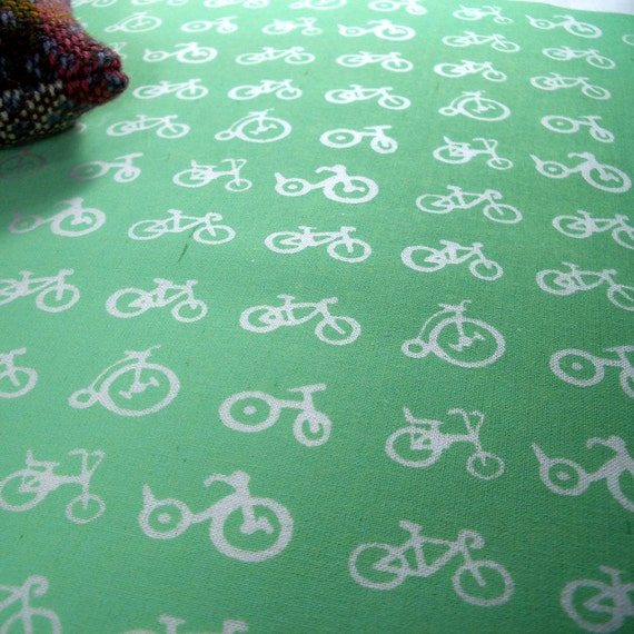 Multi Bike - hand screen printed skinny quarter - White on Apple Green