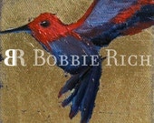 Enchanted Hummingbird on Gold Stickers by Bobbie Rich  FREE SHIPPING