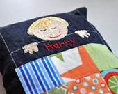Custom Monogrammed Boys Tooth Fairy Pillow-Choose with Blonde, Brown or Red Hair